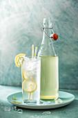 Elderflower cordial on ice with lemon