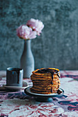 Pancakes with chocolate sauce