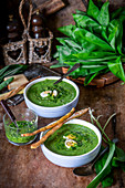 Wild garlic creme soup with eggs
