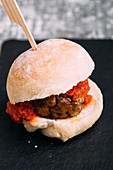 Lamb meatballs sliders with a tomato sauce