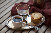 Espresso with oat biscuits and water
