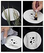 Anleitung für einen Vasenaufsatz aus Modelliermasse mit Gräsermotiv