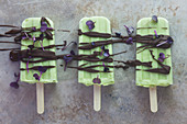 Avocado and lime ice cream on a stick with chocolate and radish cress