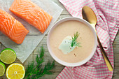 Salmon soup with dill