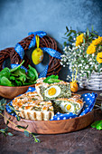 Easter pie with spinach and boiled eggs