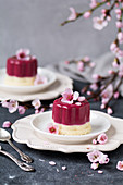 Panna Cotta with spring flowers