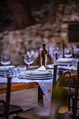 Tables laid in an Italian restaurant