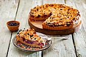 Blueberry crumble cake, sliced