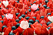 Strawberry and blueberry cake (close up)