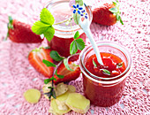 Strawberry jam with ginger and mint