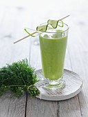 A cucumber and avocado smoothie with dill