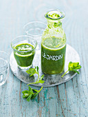 Citrus fruit and chickweed smoothies