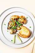 Grilled cauliflower with grilled bread
