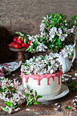 Blossom cake with strawberry white chocolate