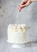 Coconut cake with angel food sponge