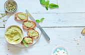 Crostini with avocado and feta spread