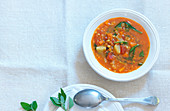 Lentil soup with spinach and tomatoes