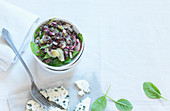Black lentil salad with radishes and blue cheese