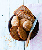 Bread and bread rolls in a basket