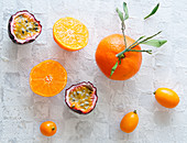 Mandarins, kumquats and red passion fruit