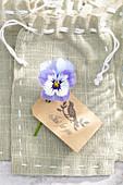 Blüte von Hornveilchen auf Geschenktüte