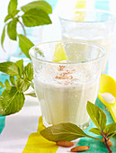 Basil milkshakes with pine nuts, salt, pepper and quark