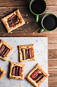 Puff pastry cookies with carmelized rhubarb