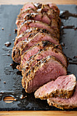 Sazon rub beef roast with chimichurri Argentina