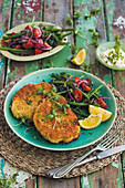 Cauliflower schnitzel with green bean salad