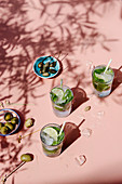 Mojito coctails in a sunshine with capers and olives