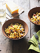 Corn Spätzle pasta with mushrooms and cheese
