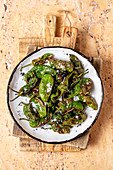 Tapas - fried padron peppers with salt (Spain)