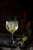 Gin and tonic in a tall stem glass with lime, cucumber and rosmary