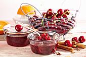 Summer sweet cherry jam with cinnamon