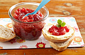 Strawberry and banana jam with buttered bread