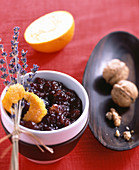 Sour cherry jam with walnuts