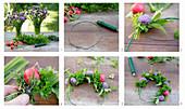 Kranz aus Schnittlauchhblüten, Kräutern und Radieschen binden