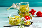 Fresh Caribbean salsa made from exotic fruit with ginger, chilli and garlic