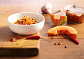 Papaya chutney with cashew nuts, ginger, garlic, chilli and sultanas
