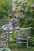 Gedeckter Tisch mit Fliederstrauß am blühenden Flieder im Garten