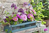 Frühsommer Sträuße aus Rosen, Zierlauch, Flockenblumen und Akelei