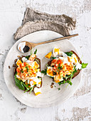 Egg and prawn salad on toast