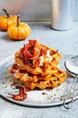 Pumpkin waffles with cream cheese