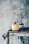 A creamy pina colada dessert on a rustic wooden table