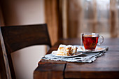 Tea and cake on a wooden table
