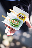 Tofu with miso on sticks (street food, Japan)