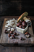 Various fresh, edible mushrooms on a wooden board