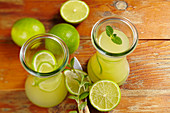 Homemade limeade made with mint and mineral water