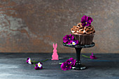 Chocolate cupcake with tufted pansies for Easter