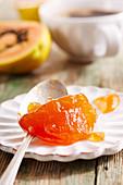 Papaya jam with carrot jam on a plate